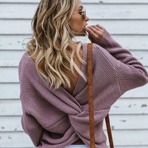 Kaylie Lavender Twist Back Sweater (L and XL left)